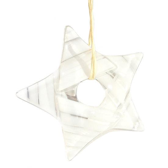 Heldere Glazen Ster Met Witte Accenten In Het Glas Exclusieve Kerst Decoratie Om Op Te Hangen G Decoratie Kerst Ster