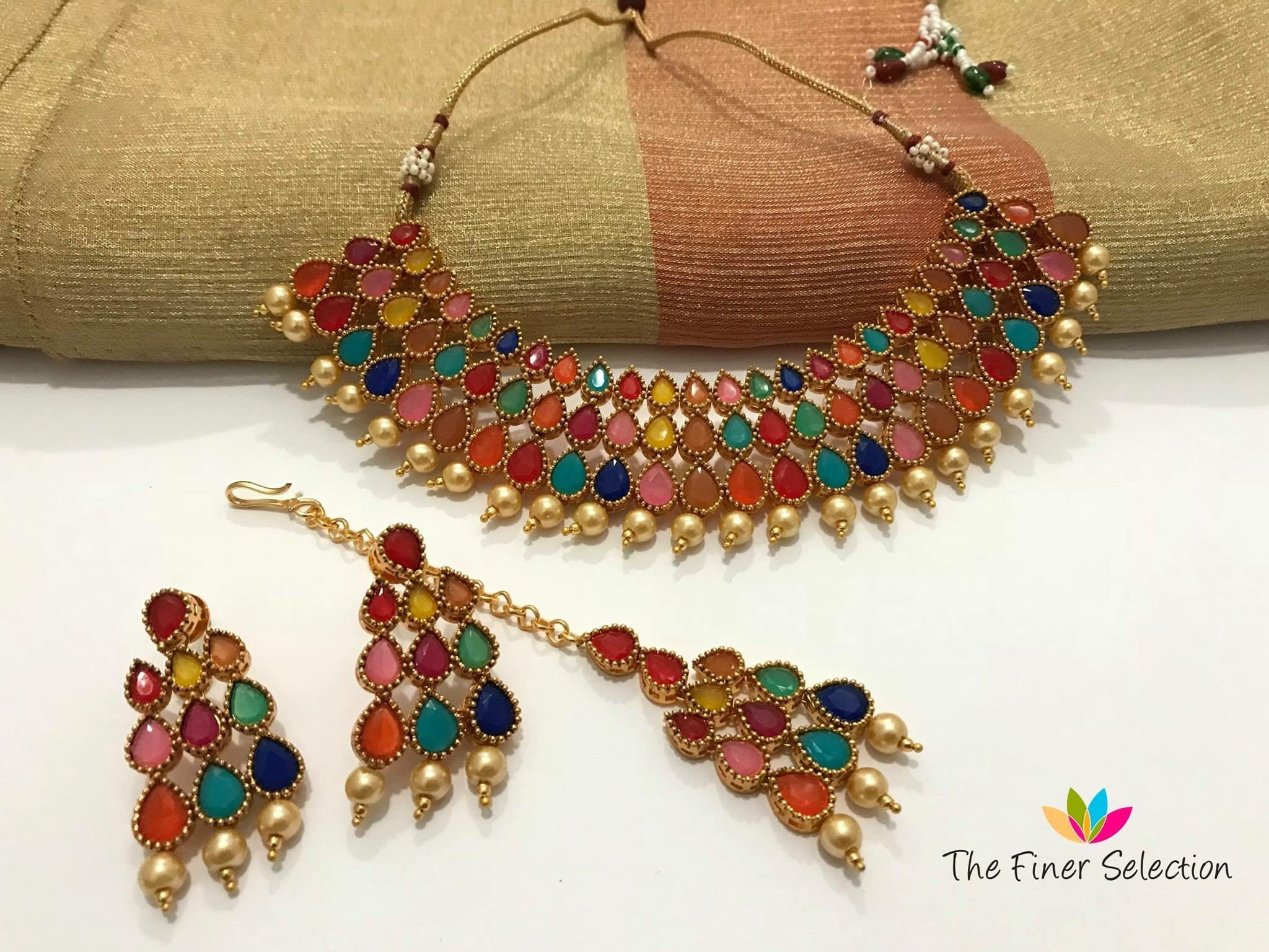 Multicolor bollywood style choker set by thefinerselection on etsy
