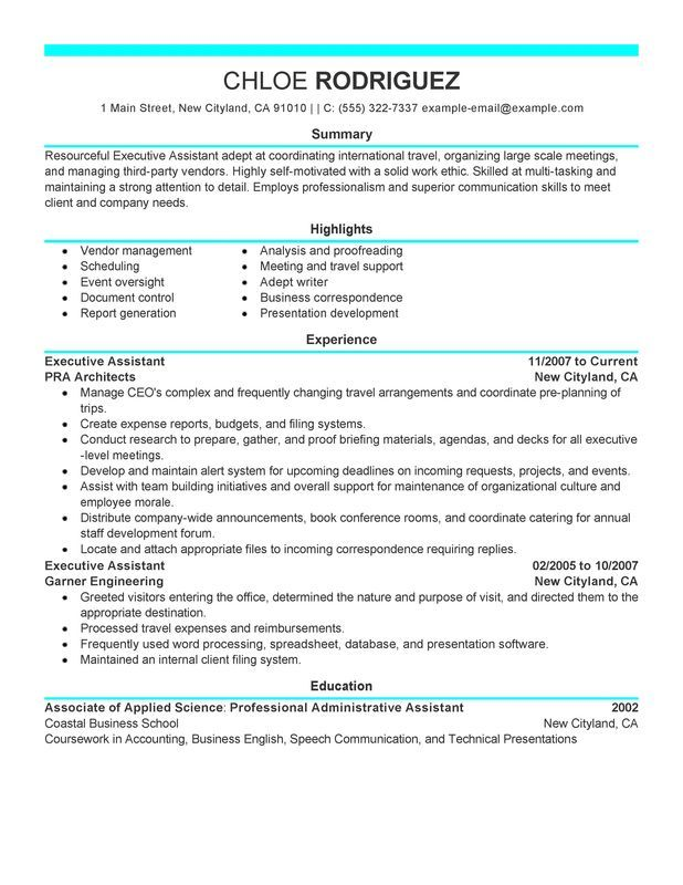 Executive Resume Examples Resume Executive Assistant  Resume`  Pinterest  Emergency