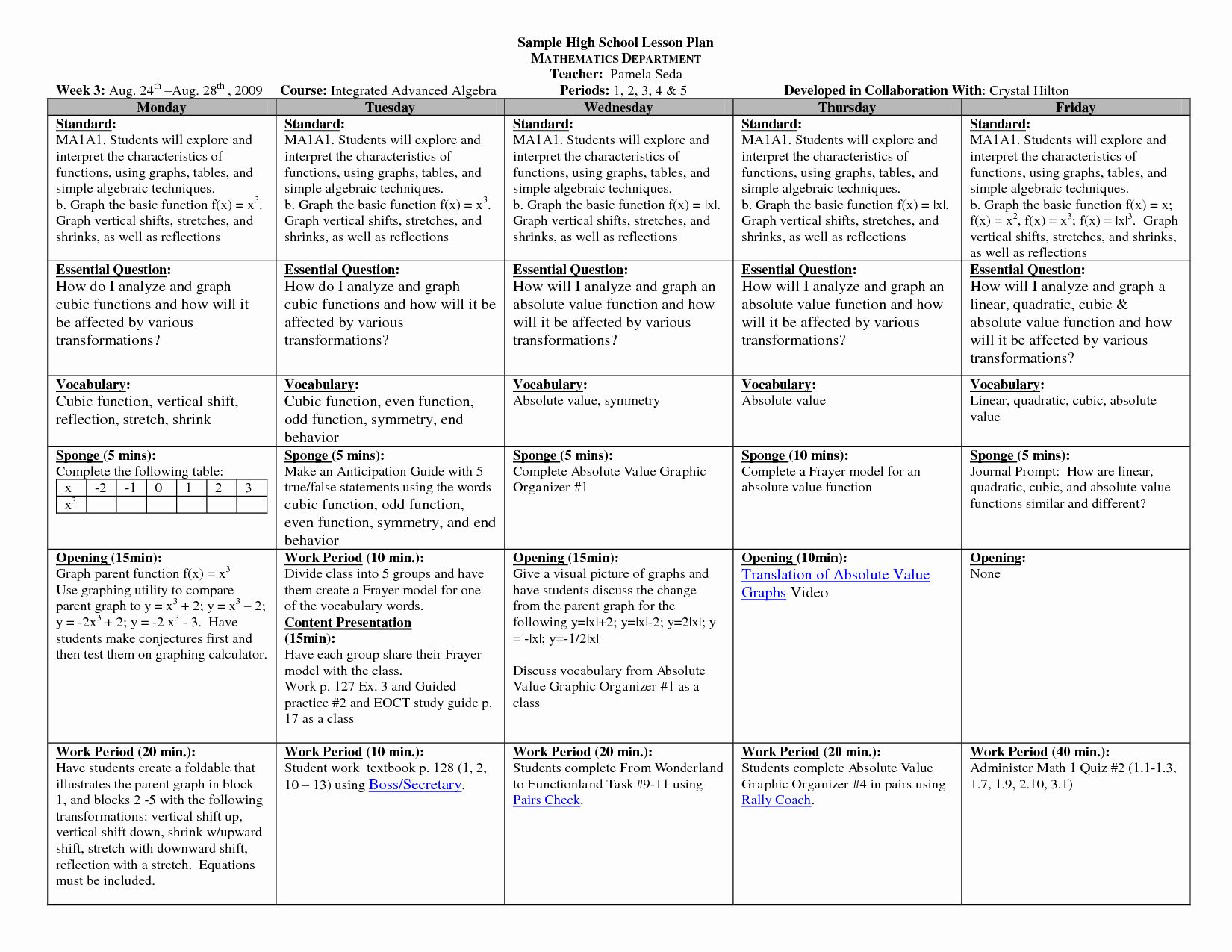 Lesson Plan Template For College Instructors Best Of Math
