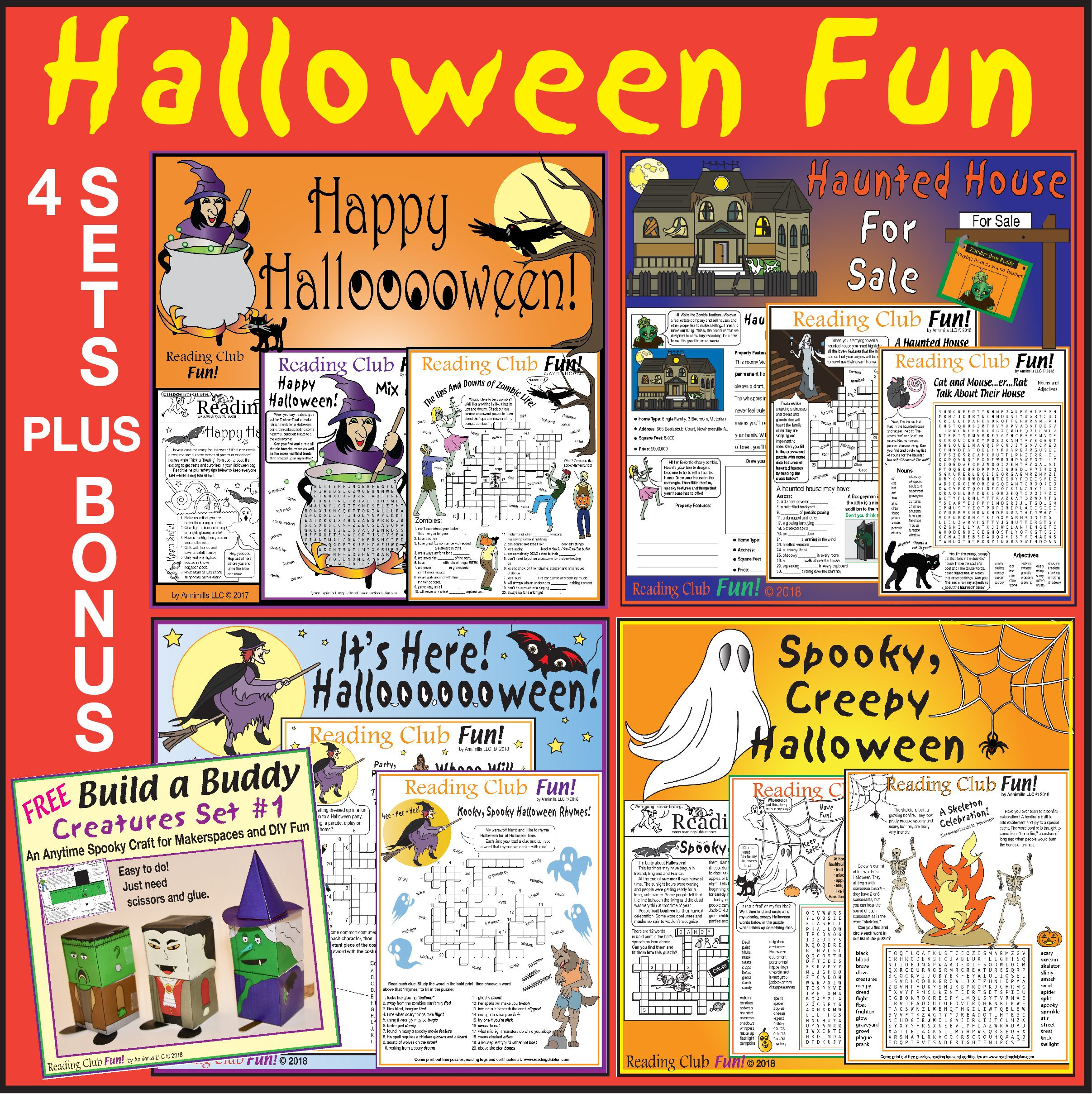 Halloween Fun Bundle 4 Lively Puzzle Sets Creature