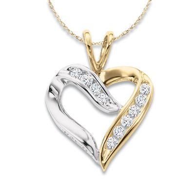 Zales Jewelry Necklaces >> 1 8 Ct T W Diamond Crossover Heart Pendant In 10k Two Tone Gold