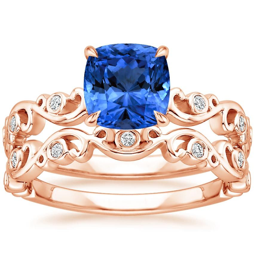 Blue Sapphire Petite Ivy Scroll Bridal Set Engagement Ring 14K
