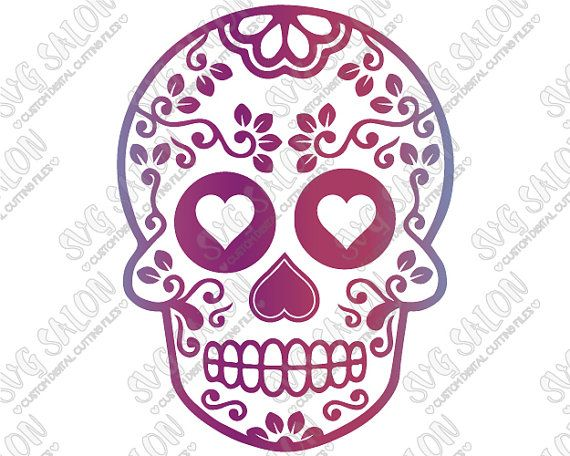 svg mexican floral sugar skull w heart design halloween day of the dead cutting file - Mexican Halloween Skulls