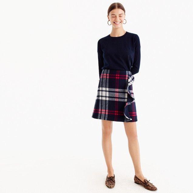 baadfbea9 Plaid ruffle mini skirt in double-serge wool   The Working Girl ...