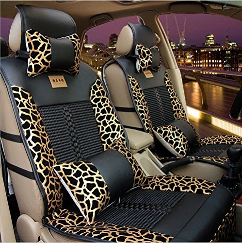 Moonet Universal Leopard Print PU Leather Car Seat Covers Cushions Full Set 6pcs Black Gold