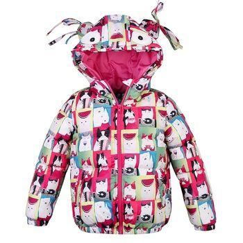 8006f450c jacket for girls Cat Printing Girls Winter Coats And Jackets Kids ...