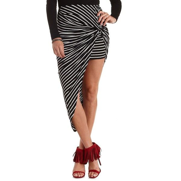 Charlotte Russe Black/White Striped & Knotted Asymmetrical Skirt by... ($20) ❤ liked on Polyvore featuring skirts, mini skirts, asymmetrical mini skirt, jersey skirt, black and white striped mini skirt, stripe skirt and striped skirt