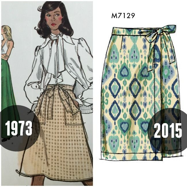 Seventies sewing patterns then and now on the McCall Pattern Company blog.  Wrap skirts—still a thing. 9ef4bde95