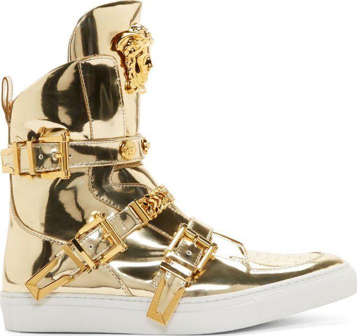 EVGENIA GL Versace Gold High Top Studded Strap Medusa Sneakers ... 93744d409e2