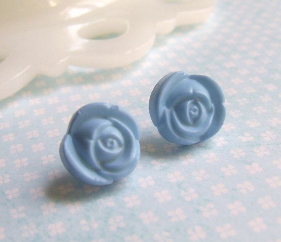Dusty Blue Blossoms  Baby Blue Rose Flowers  by OneUglyUnicorn, $4.00