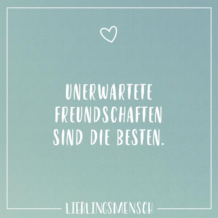 Visual Statements®️️ Unerwartete Freundschaften sind die Besten. Sprüche / Zitate / Quotes / Lieblingsmensch / Freundschaft / Beziehung / Liebe / Familie / tiefgründig / lustig / schön / nachdenken