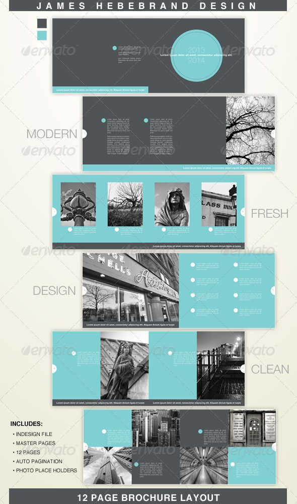 Clean Modern  Page Brochure  Brochures Font Logo And Annual