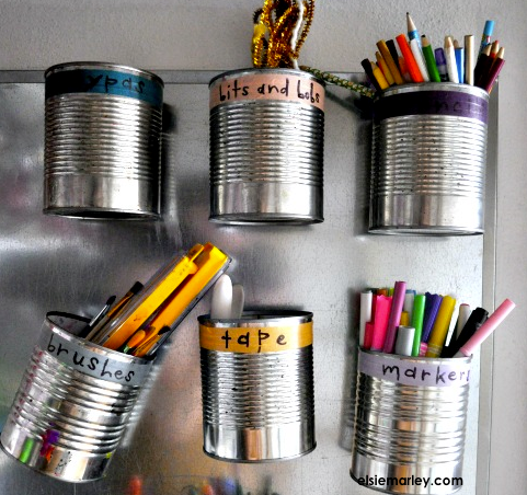 Back to school organization!  1. Tin cans make for great pencil, marker, and paint brush storage. -   2. To keep track of your bobby pins, try storing them in a tic tac container. -   3. Labels are a parent's best friend. A clipboard for each of your kids' weekly schedules is a great way to keep track of the family.