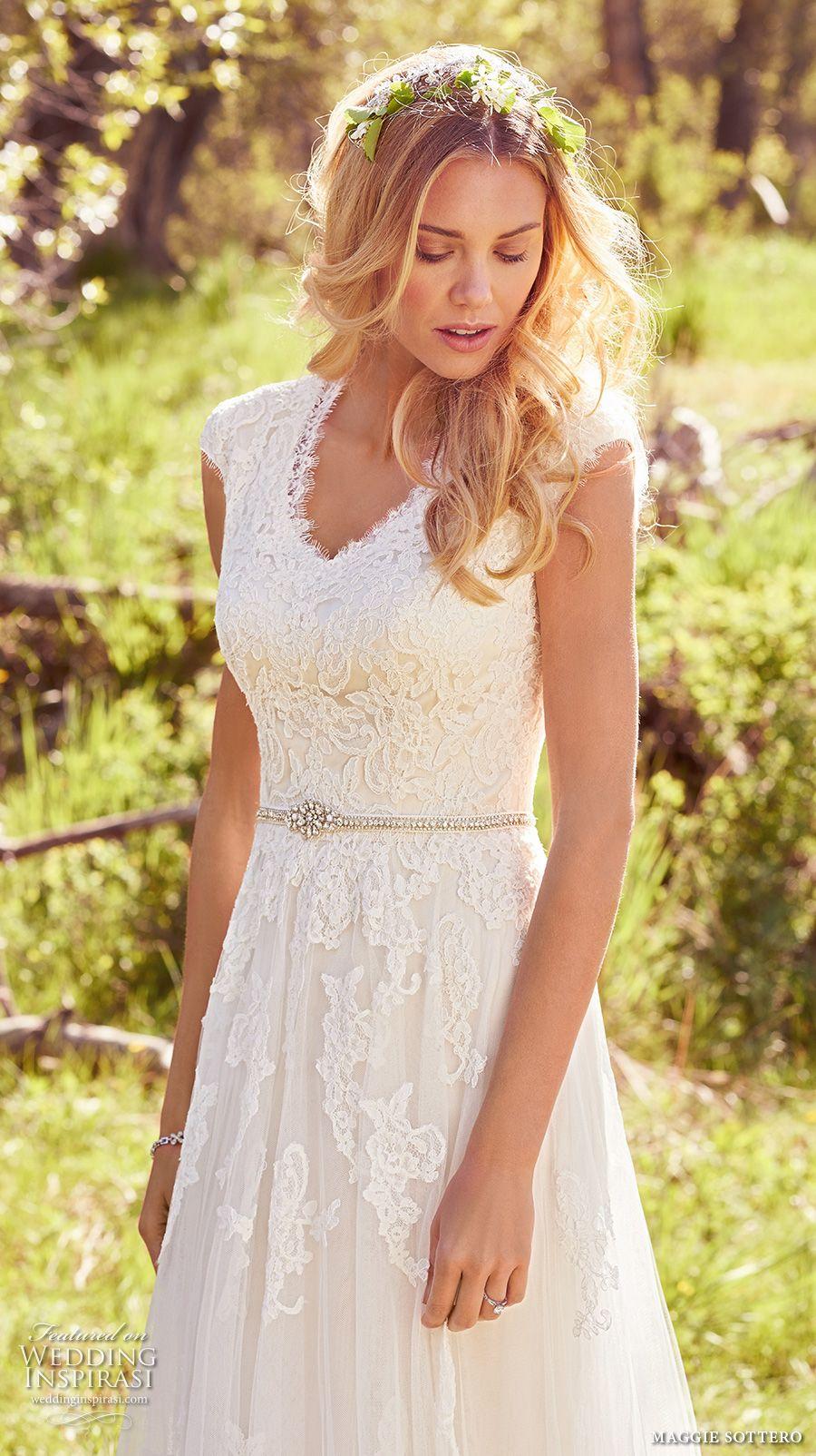maggie sottero spring 2017 bridal cap sleeves v neck heavily embellished bodice romantic a line wedding dress full back chapel train (ashley) zv -- Maggie Sottero Spring 2017 Wedding Dresses