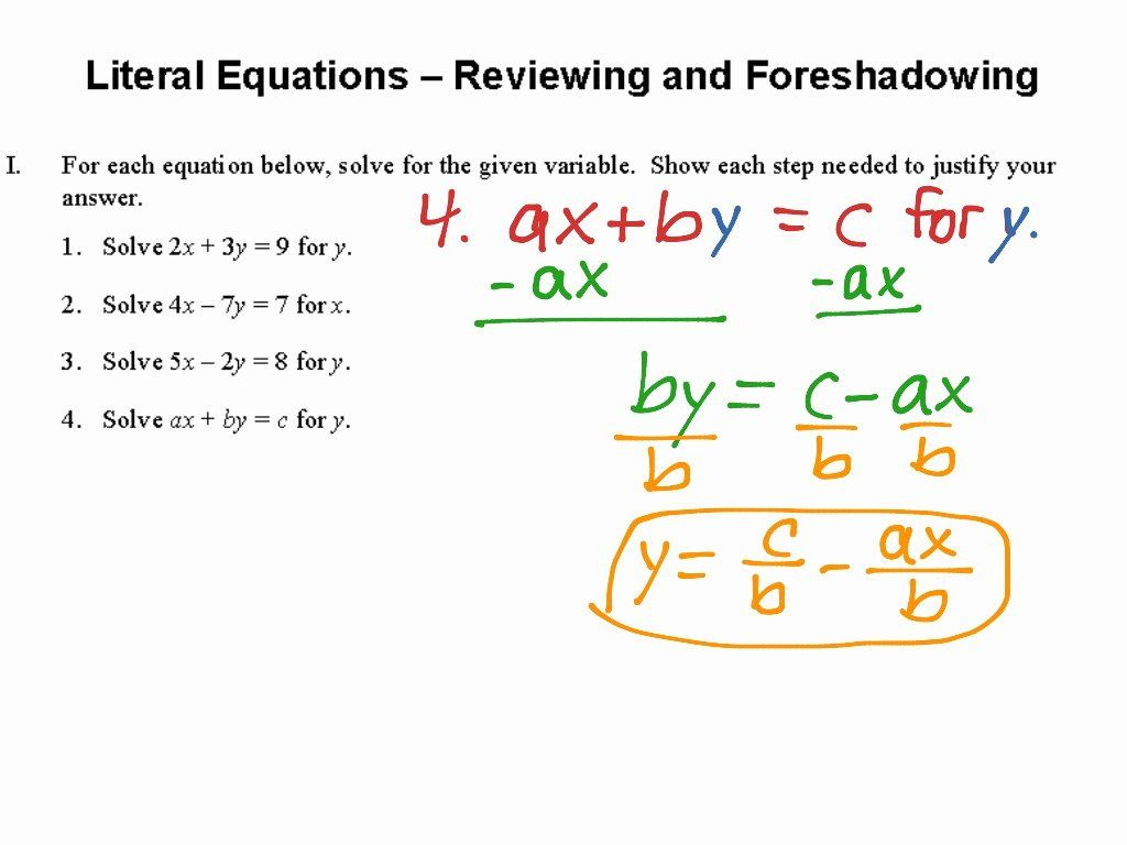 50 Literal Equations Worksheet Answers In