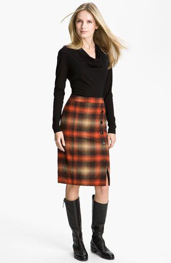 Classiques Entier® Sweater & Pencil Skirt Classiques Entier® 'Bella Lana' Sweater Classiques Entier® 'Felise' Plaid Pencil Skirt