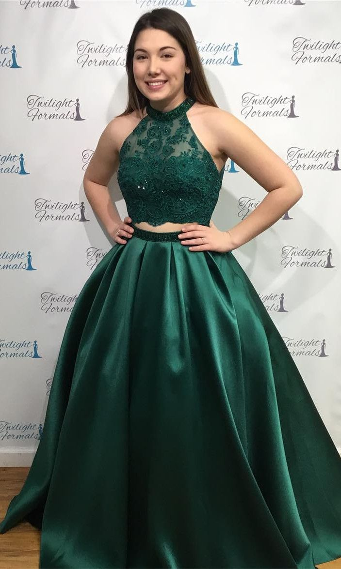 Two piece emerald green long prom dress with pockets from
