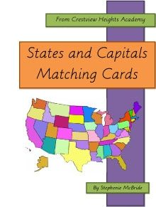 States and Capitals Matching Cards - Crestview Heights Academy | History and Geography | Montessori Inspired | CurrClick