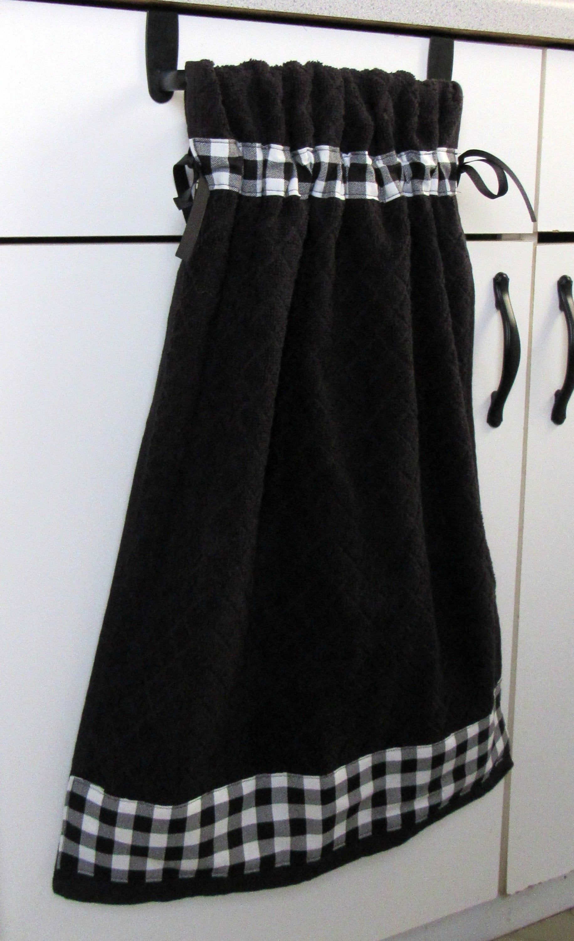 Tie Top Towels Black Cotton Kitchen Towel Accented With Buffalo