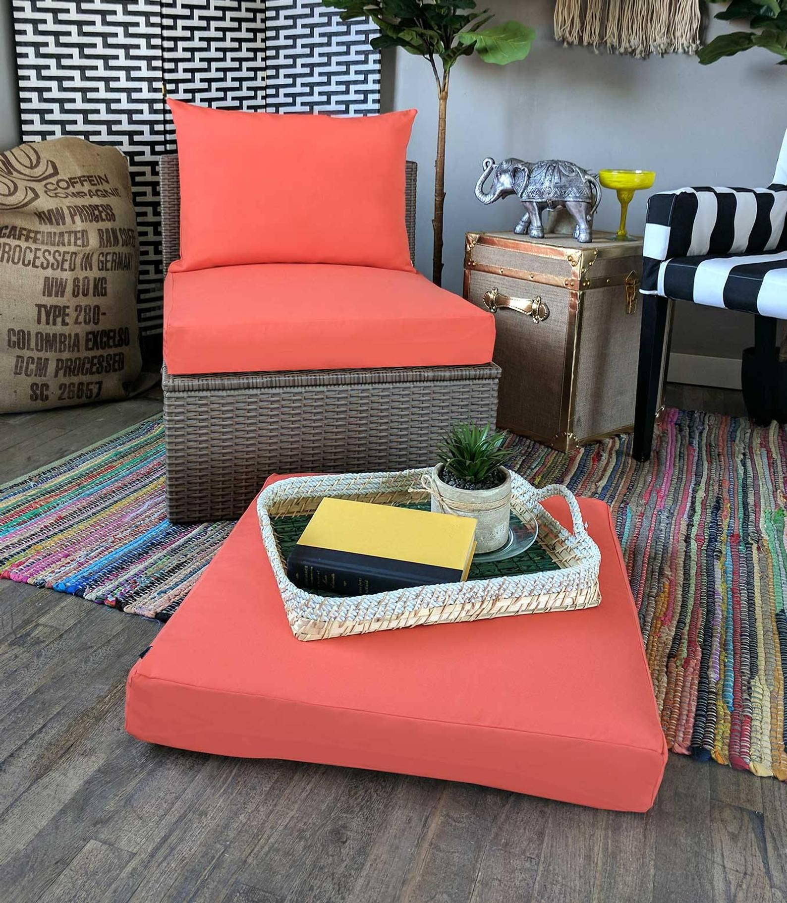 Ikea Outdoor Furniture With Sunbrella Slip Cover Solid Coral Pink