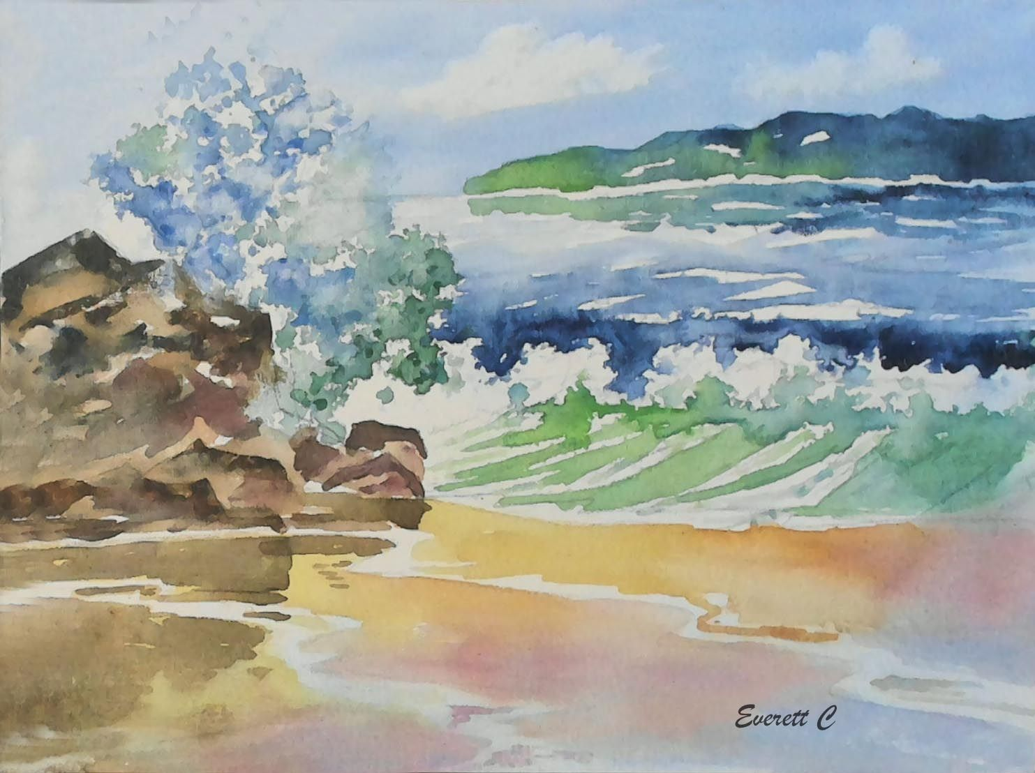 Crashing Waves Watercolor On Canvas Board 9 X 12 Capturing The