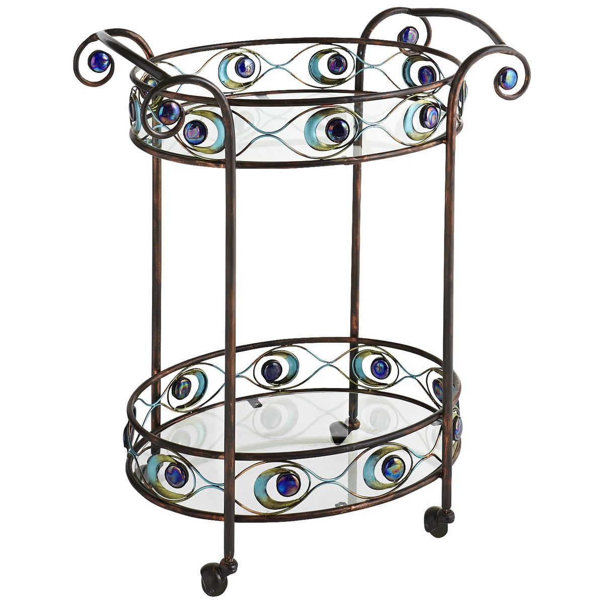 Peacock Rolling Bar Cart   Pier 1 Imports