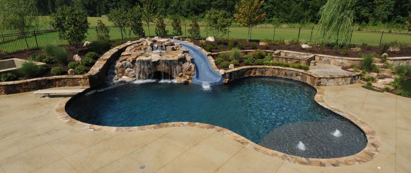 Inground pools with waterfalls and slides picture gallery for Pool design with slide