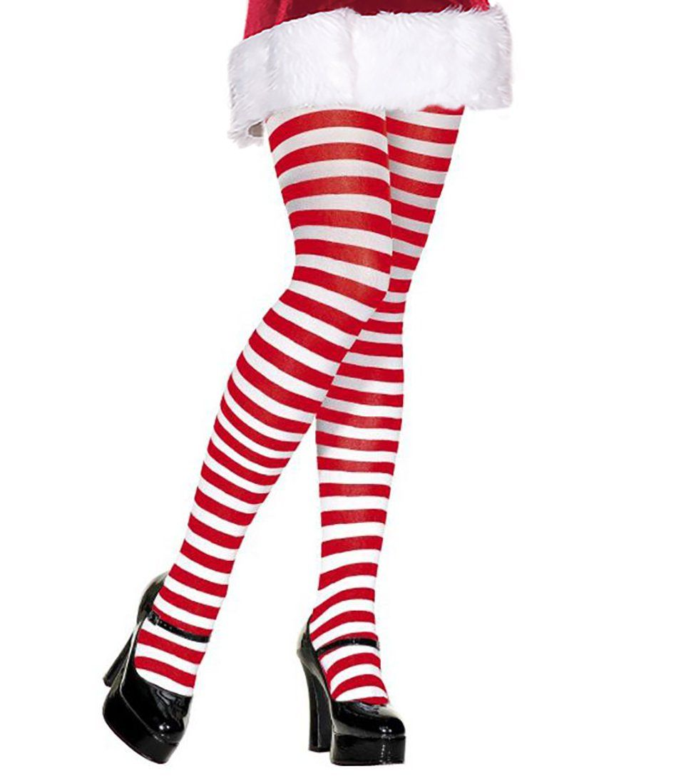 Red and white striped pantyhose always eat