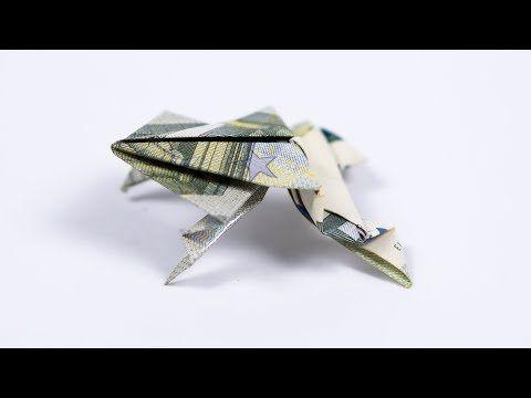 Geld falten Frosch, Kröte aus Geldschein falten, Anleitung #origamianleitungen