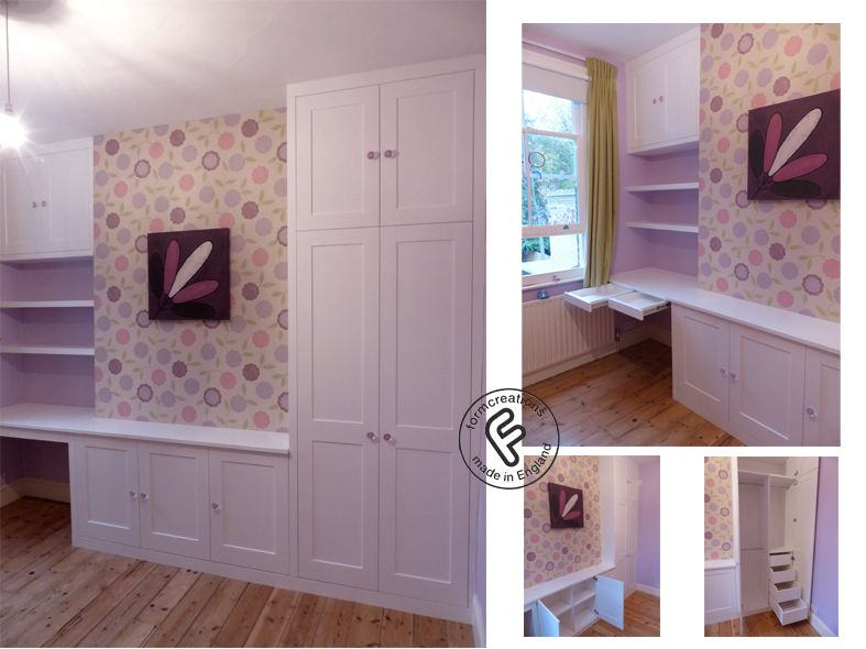 Childrens Bedroom Furniture, Shaker Style With Desk, Wardrobe, Shelves And  Pull Out Desk