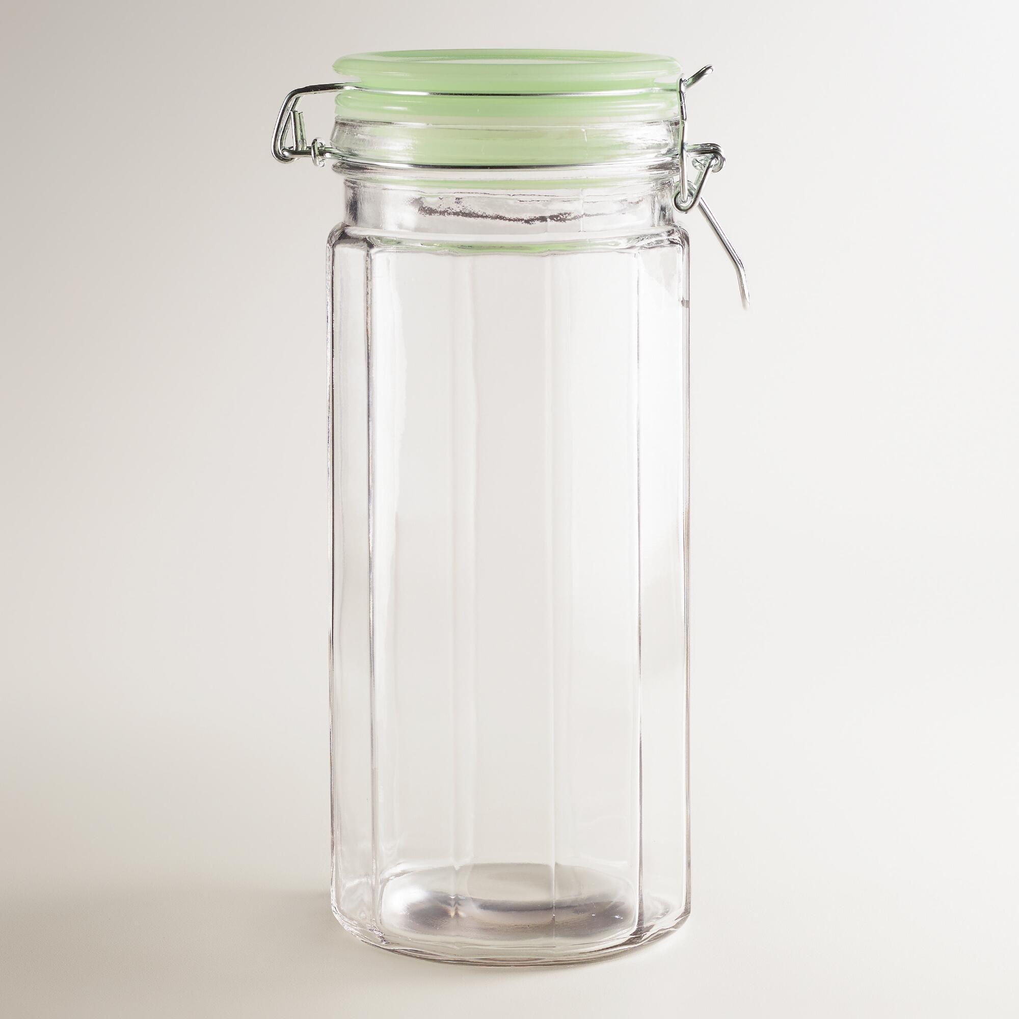 large glass clamp jars with jadeite lids set of 4