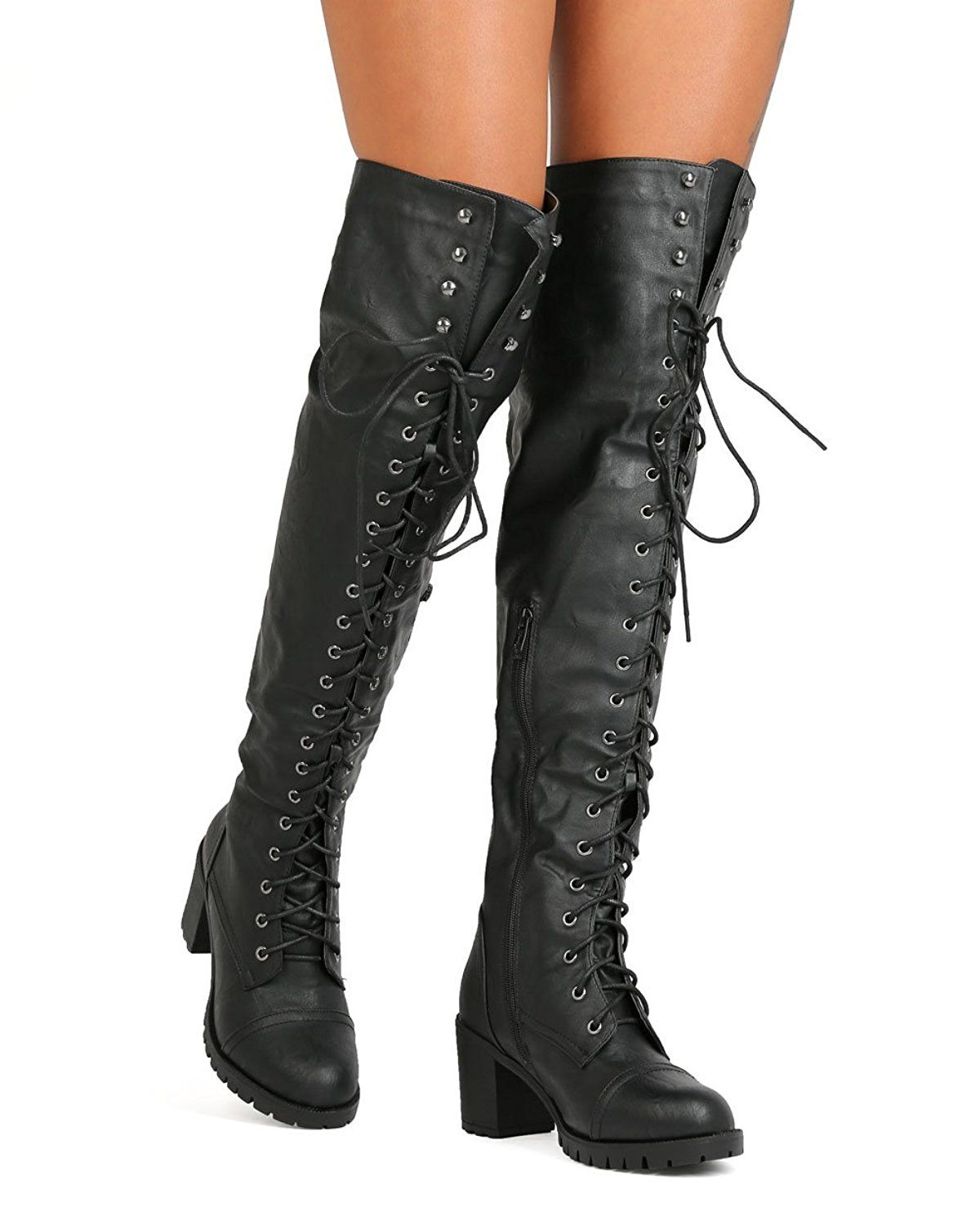 980a5b543a2 Nature Breeze FG06 Women Leatherette Over The Knee Chunky Heel Combat Boot  - Black    Review more details here   Over the knee boots