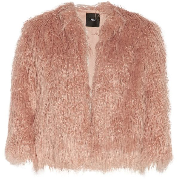 Theory - Elstana Faux Fur Jacket (667.075 COP) ❤ liked on Polyvore featuring outerwear, jackets, coats, antique rose, fake fur jacket, beige jacket, workwear jacket, theory jacket and tailored jacket
