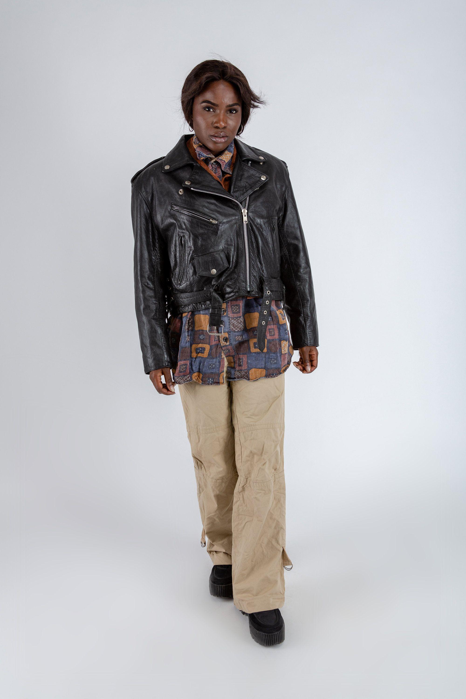 Cropped vintage biker jacket, Black leather motorcycle