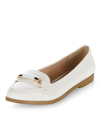 White Patent Metal Bar Loafers