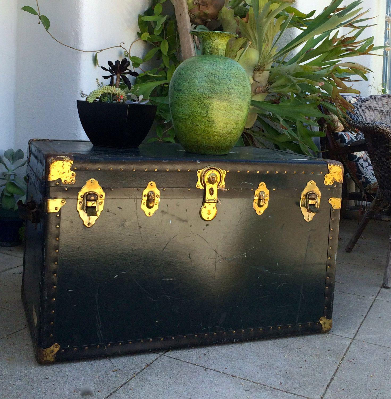Stunning Black Steamer Trunk Coffee Table Antique Chest Industrial  SteamPunku2026