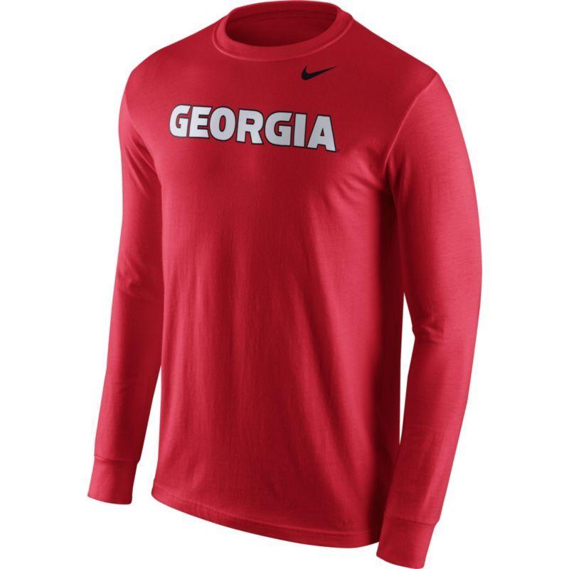 Georgia Bulldogs Nike Wordmark Long Sleeve T-Shirt - Red -