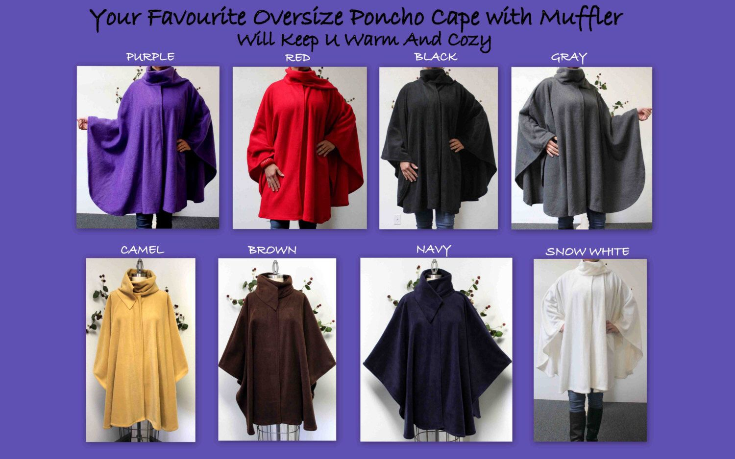 Ultimate Travelers Full Size Plus Size Poncho Cape for Everyone. Warm, Soft, Comfortable and Stylish with Muffler by ComfyPlus on Etsy https://www.etsy.com/listing/248268007/ultimate-travelers-full-size-plus-size