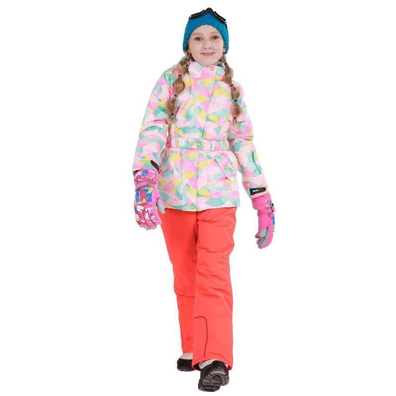 Detector Girls Ski Suit Waterproof Kids Ski Jacket Ski Pants thermal boys  Phibee high quality Winter Clothing -30 degree 9307a8fd6