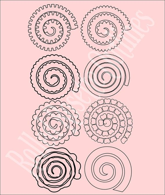 Paper rolled rosette templates diy paper by for Rolled paper roses template