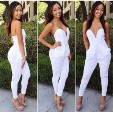 059a79de6fe Fashion Strapless Pocket Designed solid White Polyester One-piece ...