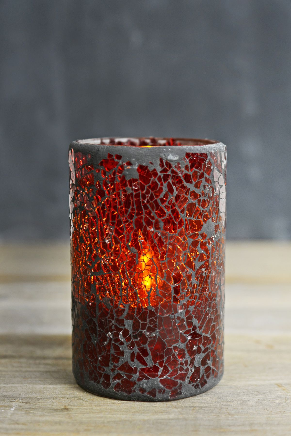 Red Crackled Glass Battery Operated Flameless Candle | Crackle ... for Ideas For Candle Decoration Competition  579cpg