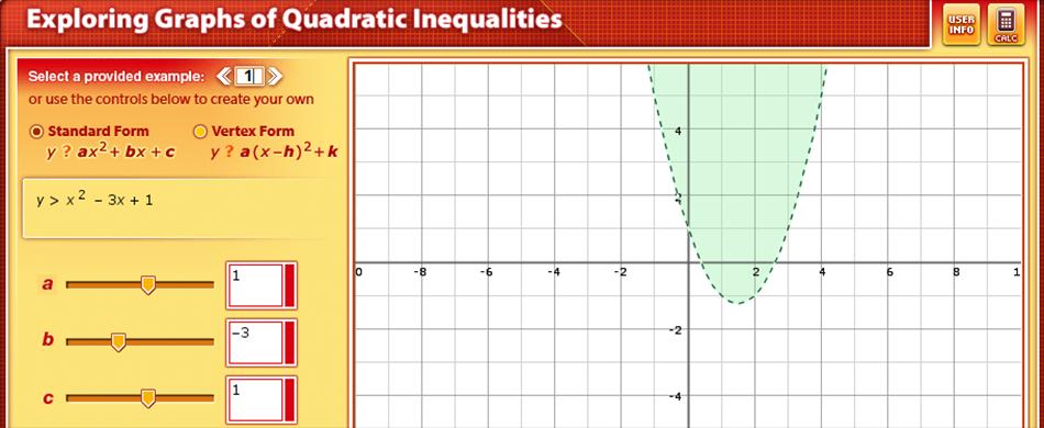 Exploring Graphs Of Quadratic Inequalities Use The Tool S Built In Examples Or Create Your Own To Explore A Quadra Quadratics Stem Curriculum Maths Algebra