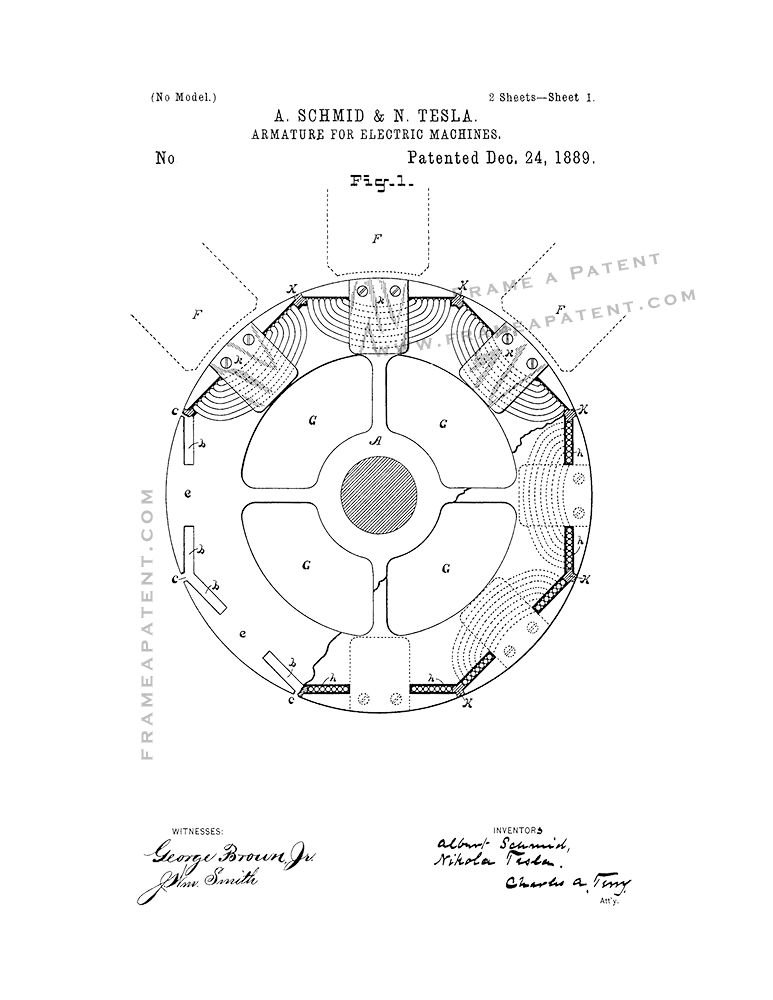 Tesla Armature For Electric Machines Patent Print