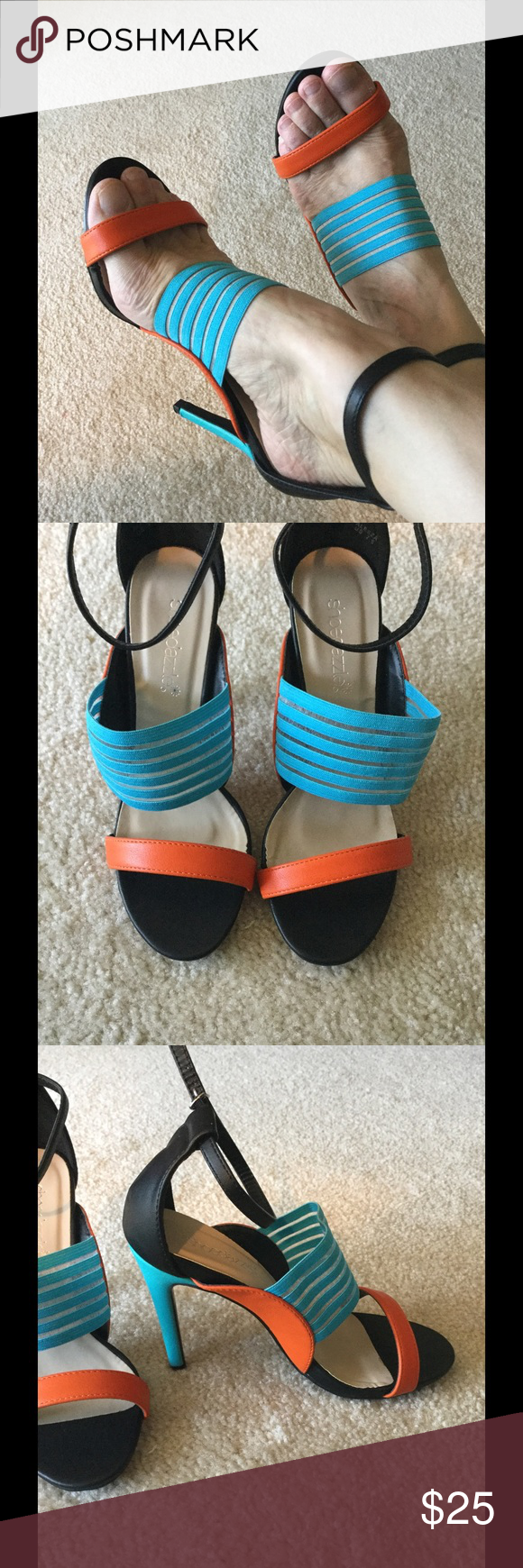 """Black, Orange and Turquoise Sandals BNWOB Turquoise strap is elastic for a nice fit, size 7.5, heel 4.25"""" Shoe Dazzle Shoes Heels"""