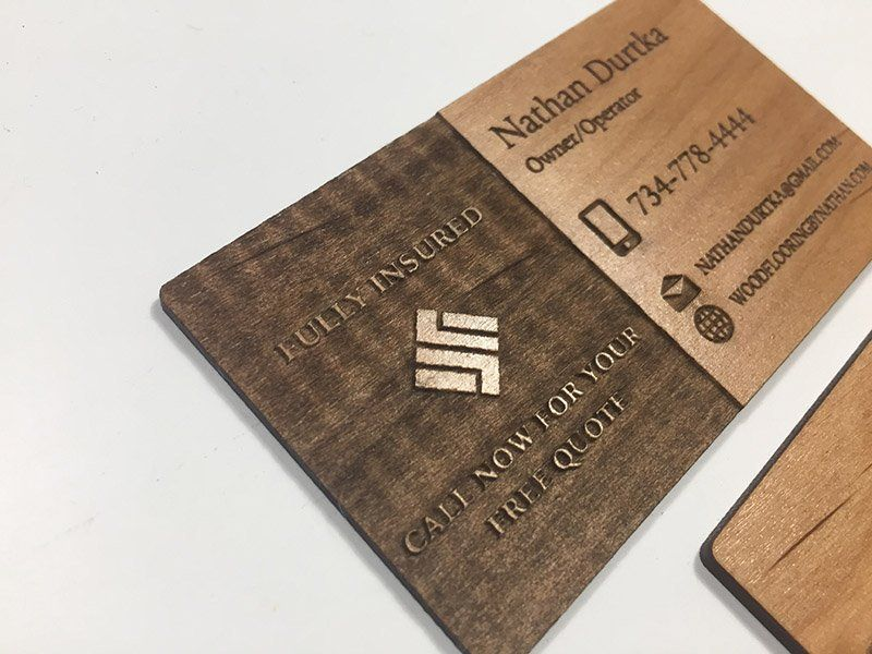 Alder business card with a reverse engrave on one side. | Wood ...