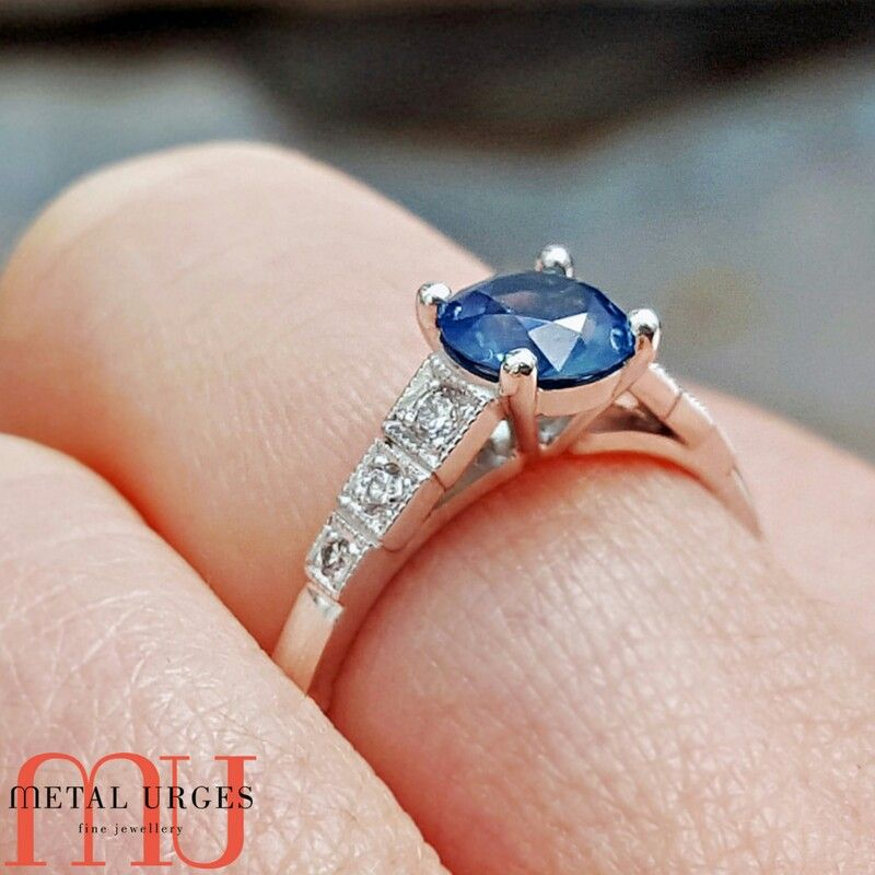 Engagement Rings Hobart: Art Deco Custom Made Tasmanian Sapphire And Diamond Ring