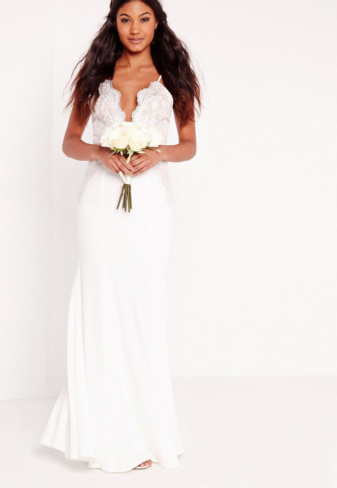 643f6c63fc9 Missguided - Bridal Scallop Lace Cami Maxi Dress White | Wedding ...