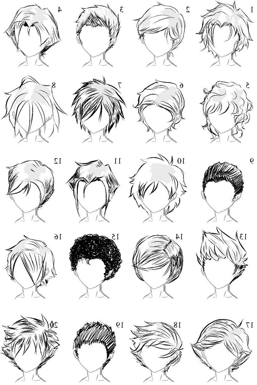 Anime Boy Hairstyles *NOT MINE* Manga hair, Sketches